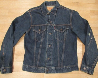 Vintage 60's Levi's Big E Dark Denim Trucker Jacket Size 40 USA 70505-0217