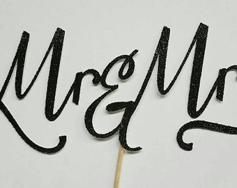 Mr. And Mrs. Cake Topper - Bridal Shower - Bridal Party - Wedding - Mr.and Mrs.