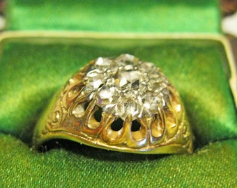 Antique Old Mine Cut Cluster Ring / 10 Diamonds Yellow and White Gold