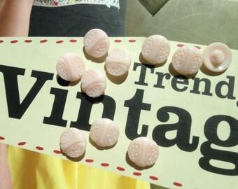 10 little glassbuttons - vintage buttons - pink collector buttons - Art Nouveau motif - 14 mm