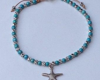 Turquoise howlite ankle bracelet, Ankle bracelet with turquoise howlite, Anklet of howlite and zamak