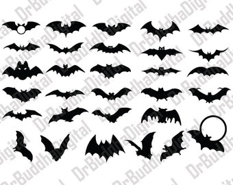 Halloween Bat SVG Collection - Halloween Bat DXF - Bat Clipart - Svg Files for Silhouette Cameo or Cricut