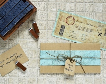 Journey to remember | Rustic Wedding Invitation, Mint, Travel Themed, Vintage Boarding Pass