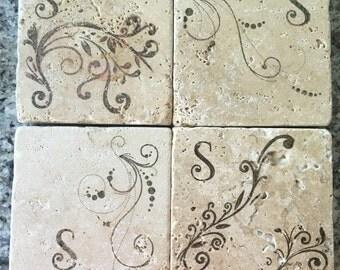 Personalized travertine tile coasters