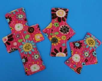 Pink Flower Cloth Pad  / 4 sizes to choose from