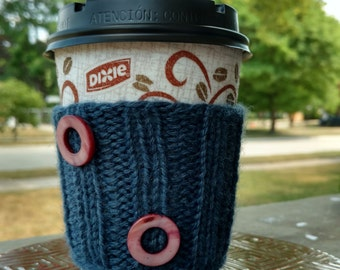 Coffee Cozy: Blue with Pink Circle Beads