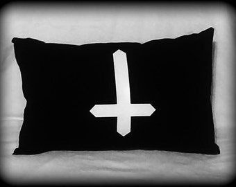 Inverted Cross pillow, Satanic pillow, Occult pillow