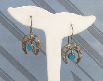 Mexico Vintage Sterling Silver Celestial Turquoise Dangle Earrings