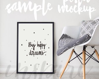 Big A2 Black Frame Mockup / PSD Smart Object / Nordic Styled / Stock Photography / Black Frame / Scandinavian Decor / Cozy and Minimalist