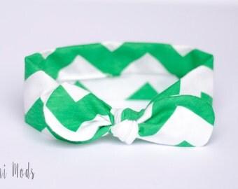 Green Chevron Top Knot Headband, Baby Headband, Knot Baby Headwrap, Green Irish Headband, Green Tie knot Turban Headband, Baby Shower Gift
