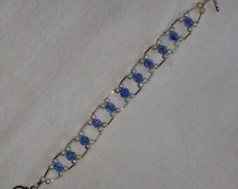 Sky Blue Crystal Bead Bracelet