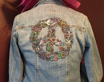 Painted Denim Jacket - Peace in Doodles