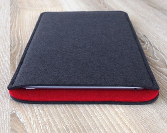 sleeve for iPad 2 / iPad 3 / iPad 4 · wool felt (100% wool) case cover · made in Germany · color: ANTHRACITE/RED