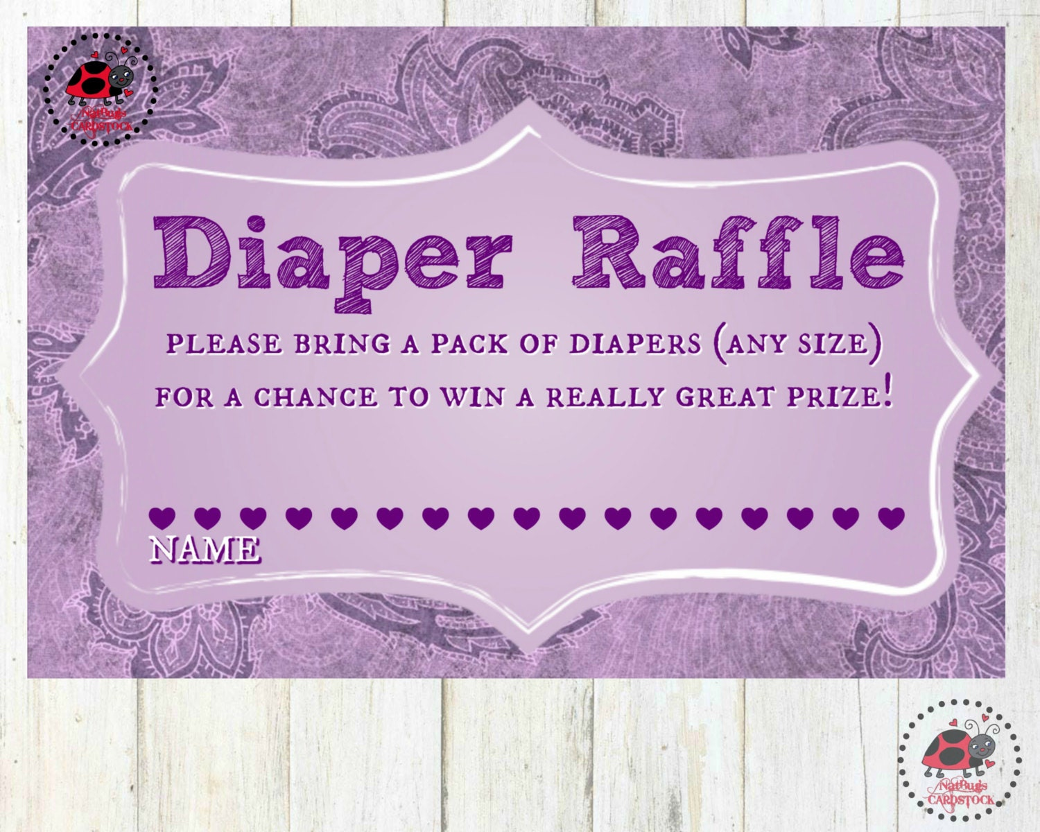 diaper raffle ticket baby shower game oh baby purple baby