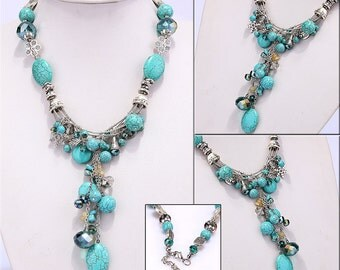 Handmade Tibetan Style Silver-plated Turquoise Austria Crystal Necklace