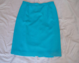 Vintage 100% Wool/Laine Teal Skirt
