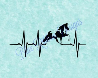 Spotted Walking Horse TWH EKG Heartbeat Vinyl Decal Car Window Sticker