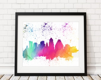 Austin Skyline Watercolor Print - Cityscape Print - Austin Watercolor Art - Austin Skyline Painting Watercolor Painting City Silhouette Art
