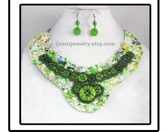 Shades of Green Quilted Fabric Crochet Button Bib Necklace and Earring Set