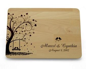 Gepersonaliseerd snijplank, aangepaste Cutting Board liefde boom, Wedding Gift snijplank