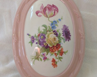 Vintage Glazed Clay Hand Painted Floral Plaque