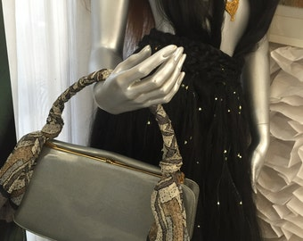 1940's Vintage Grey Patent Leather Frame Hand bag