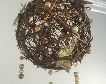 Butterfly Mobile, Grapevine Ball Mobile, Fairy Mobile, Pearl Mobile, Nursery Decor, Woodland Nursery, Wedding Chandelier, FREE SHIPPING