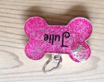 Pink Resin bone dog Tag w/Silver Crown Charm
