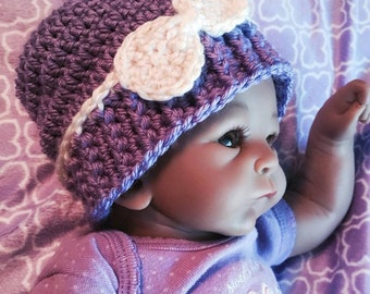 Crochet Slouch beanie Hat with Bow for Newborn Babies and Reborn Baby Girl dolls