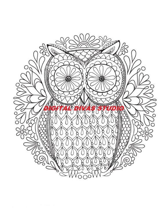 Owl Mandala Digital Instant Download Vector by ...