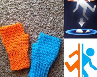 Portal Game Inspired Fingerless Gloves -- Handmade Made to Order