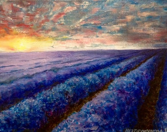 Lavender Field Painting On Canvas Impressionism Painting Wall Art Canvas Lavender Painting Original Acrylic Painting Fine Art Contemporary