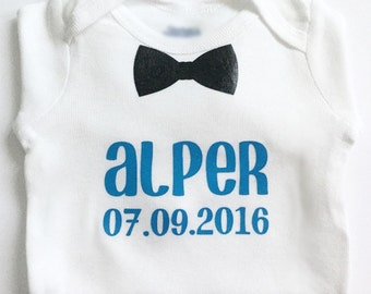 Personalized bodysuit, bow tie, customized shirt, black, blue, baby outfit, baby gift, present, baby shower, birthday, boy, gifts for him