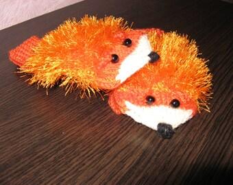 Warm gloves Fox.Children's mittens. Merry mittens. Orange gloves.Funy mittens.For girl.For boy.