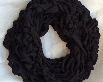 black scarf necklace style- hand knitted scarf necklace