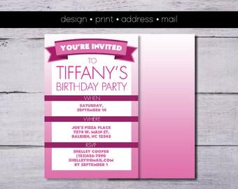 Pretty In Pink Girl's Birthday Party Invitation - Design, Print, Address, Mail