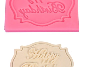 Set of 3 chocolate - fondant mold. Happy Birthday - Flowers. Free Shipping