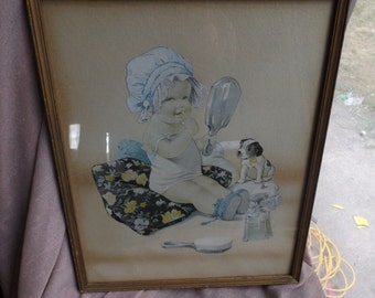 Baby with puppy, putting on lipstick CUTE Original ANTIQUE VINTAGE
