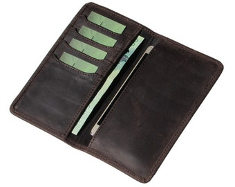 Leather Phone Case Leather Wallet Large Leather Wallet Double Bifold Wallet Phone Wallet with Card Holders in Brown