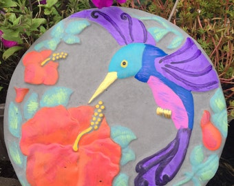 12 Inch Round Hand Painted Hummingbird and Flower Stepping Stone, Garden Stone