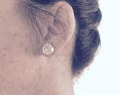 Rose Gold Druzy Stud Earrings, 12mm Round Druzy Earrings Rose Bronze Metallic Glitter Faux Drusy Posts Glittering Gold Stainless Steel Studs