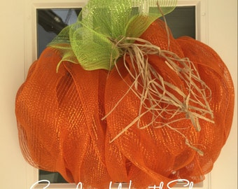 READY TO SHIP! Pumpkin wreath, mesh wreath, mesh pumpkin wreath, fall wreath, halloween wreath, thanksgiving wreath