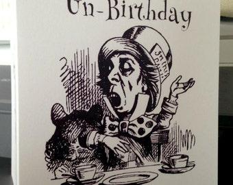 Literature Gift - Happy Un-Birthday Card Alice In Wonderland Mad Hatter - White