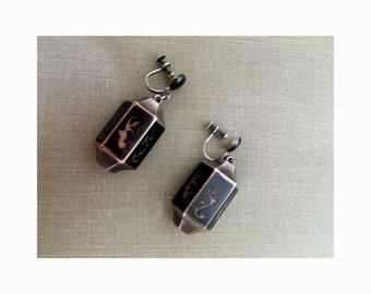 Siam Niello sterling silver black enamel earrings Clip-on OR Pierced