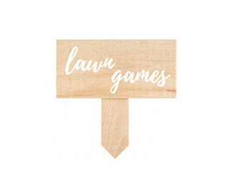 Wooden Lawn Games Sign