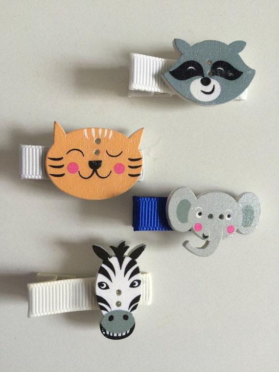 Zoo Animal Hair Slides - Set of 4