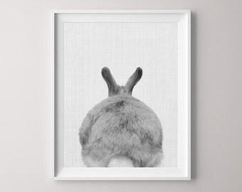 Animal Printable, Rabbit, Canvas Pictures, Butt Tail, Canvas Print, Nursery Print, Peekaboo Animals, Nursery Decor, Nursery, Cute Rabbit