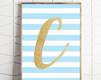 boys room nursery wall art, letter C printable, blue and gold letter print, letter C printable, letter C print, monogram C art