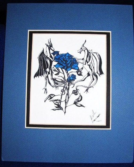 Blue Rose Dragons: Limited pre-matted prints. Framing size 8x10