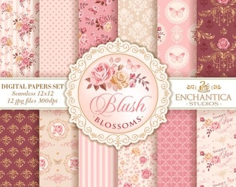 Digital Paper Shabby Chic, Shabby Chic Paper, Shabby Chic Seamless Pattern, Printable Roses, Scrapbook Scrapbooking, Pink Blush Butterfly